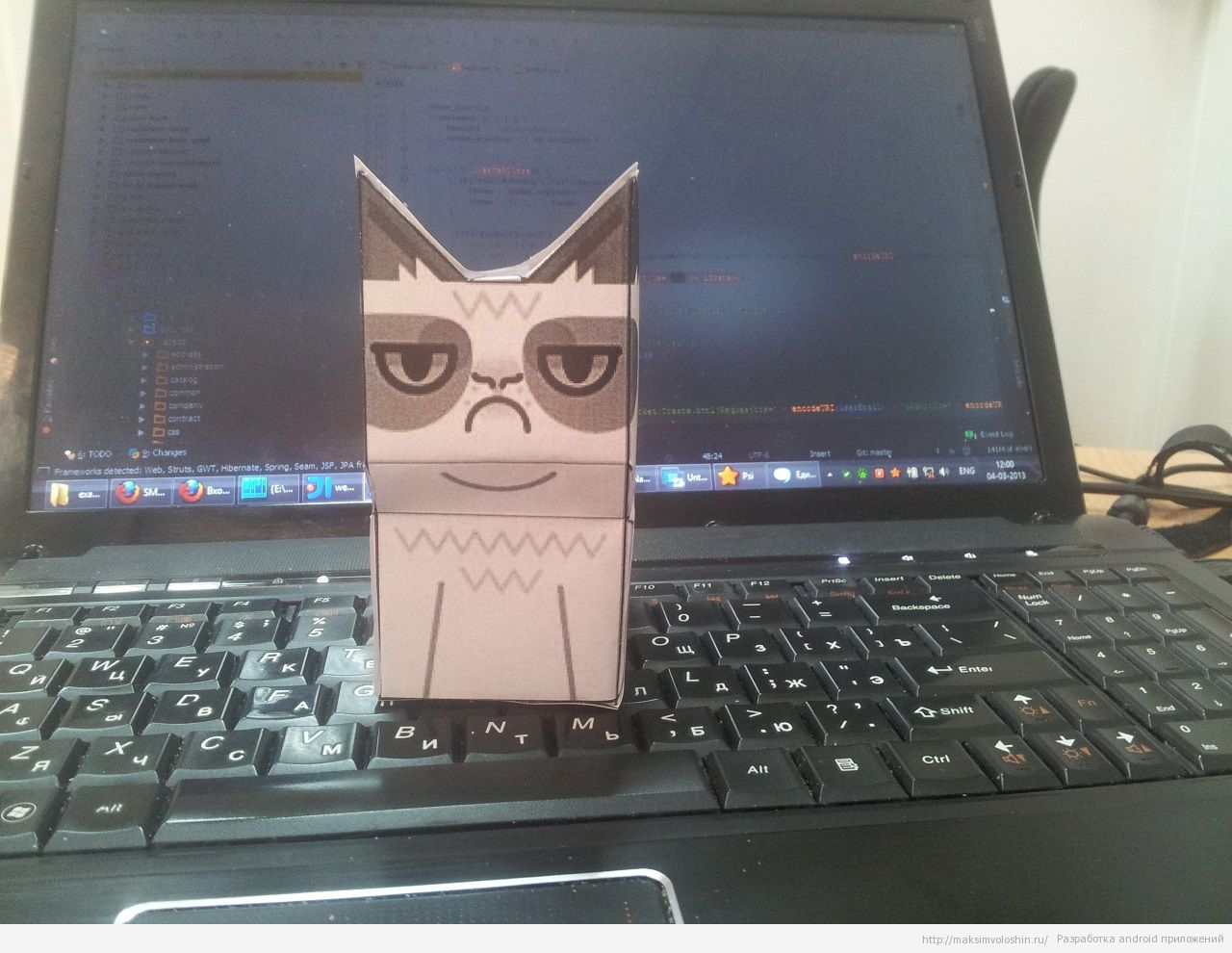 Grumpy cat from paper